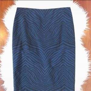 Ann Taylor Size 6 Pencil Skirt Black/ Blue